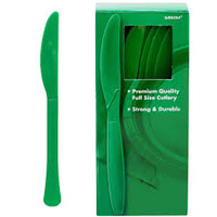 Green Festive Plastic Knives (Box of 100)