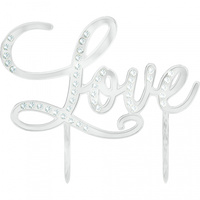 Cake Topper Love Silver with Gems