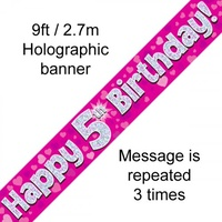 5th Birthday - Banner Pink Holographic