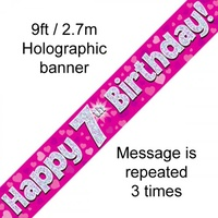 7th Birthday - Banner Pink Holographic