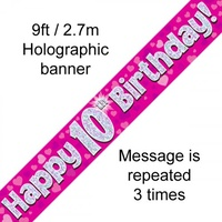 10th Birthday - Banner Pink Holographic