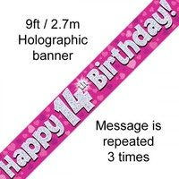 14th Birthday - Banner Pink Holographic