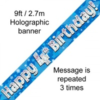 4th Birthday - Banner Blue Holographic
