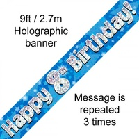 8th Birthday - Banner Blue Holographic