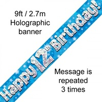 12th Birthday - Banner Blue Holographic