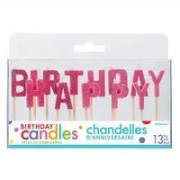 Happy Birthday Pick Candles - Glitter Pink
