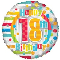 18th Birthday Dots & Lines 45cm Foil Balloon