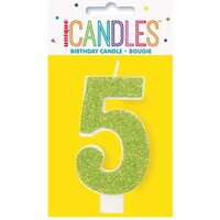 5th Glitter Lime Green Candle