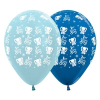 1st Birthday Boy Elephants Latex Balloons