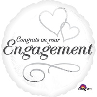 Engagement Two Hearts 45cm Foil Balloon