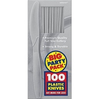 Silver Plastic Knives (Box of 100)