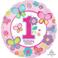 1st Birthday Girl Sweet 45cm Foil Balloon