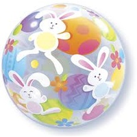 Easter Bunny Bubble Balloon w/Helium (Local Purchase Only)