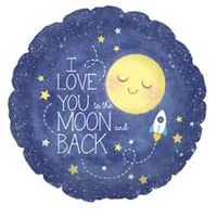 I Love you to the Moon and Back Rocket 45cm Foil Balloon