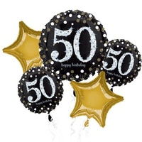 50th Birthday Sparkling Foil Balloon Bouquet