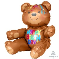 Happy Birthday Bear Sitting Foil Balloon (Air Fill Only)