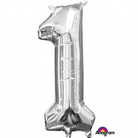 1st Birthday - Number 1 Junior Shape Silver Foil Balloon