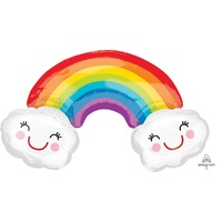 Rainbow with Clouds Super Shape Foil Balloon