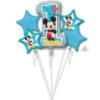 Mickey Mouse 1st Birthday Foil Balloon Bouquet