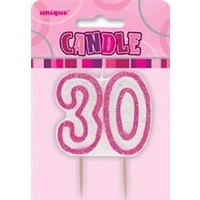 30th - Pink Glitz Candle