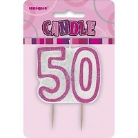 50th - Pink Glitz Candle