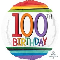 100th Rainbow Birthday 45cm Foil Balloon
