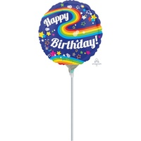 Happy Birthday Colourful Rainbow 22cm Foil Balloon (Air Filled Only)