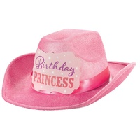 Western Princess Birthday Flocked Cowboy Hat