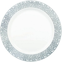 Premium Dinner Plates 25.4cm White w/Silver Lace Border