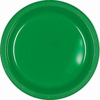Green Festive Plastic Lunch Plates (Pkt 20)