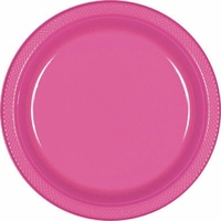 Pink Bright Plastic Lunch Plates (Pkt 20)