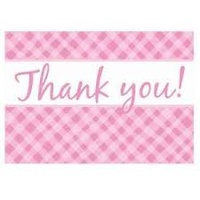 Thank you Card - Pink Plaid