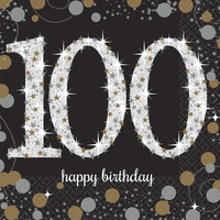 100th Sparkling Celebration Happy Birthday Beverage Napkins