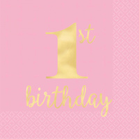 1st Birthday Pink Lunch Napkins