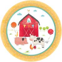 Barnyard Birthday Round Paper Plates Lunch