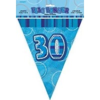 30th - Blue Glitz Flag Banner