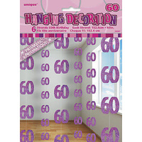 60th - Pink Glitz Hanging String Decoration