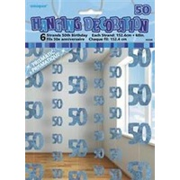 50th - Blue Glitz Hanging String Decoration