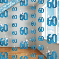 60th - Blue Glitz Hanging String Decoration