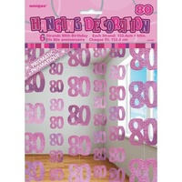 80th - Pink Glitz Hanging String Decoration