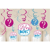 Gender Reveal Girl or Boy Hanging Swirls