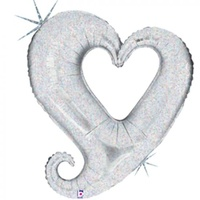 Holographic Silver Chain of Hearts Super Shape Foil Balloon