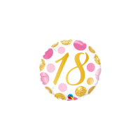 18th Birthday Foil Gold Pink Dots