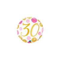 30th Birthday Foil Pink and Gold Dots