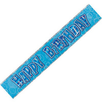 Happy Birthday - Blue Glitz Banner