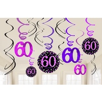 Pink Celebration 60th Hanging Decoration Swirl