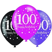 100th Pink Celebration 30cm Latex Balloons