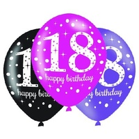 18th - Pink Celebration 30cm Latex Balloons