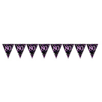 80th Pink Celebration Pennant Banner