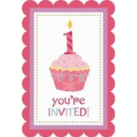 1st Birthday Girl Cupcake Invitations